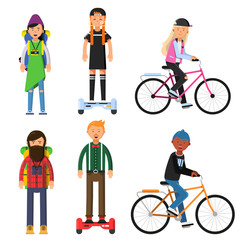 Hipsters make a trip. Bicycles riders. Vector characters set