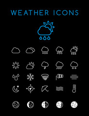 Set of Quality Universal Standard Minimal Simple White Thin Line Weather Icons on Black Background