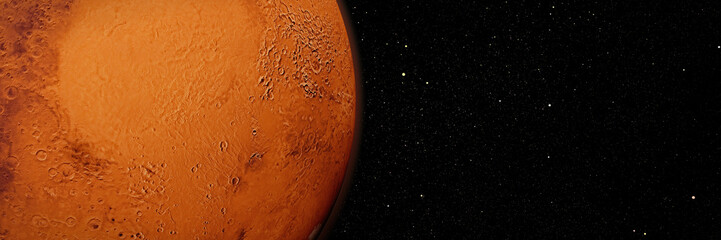 red planet Mars in natural colors, mission target in outer space