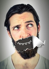 Man with torn paper on mouth and cartoon mouth