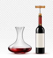 red wine with a decanter and a bottle on a transparent background