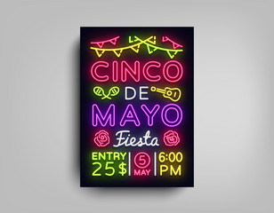 Cinco De Mayo Poster in neon style. Design Template Flyer invitation to celebrate Cinco de Mayo, brochure neon style banner light, typography Mexican Fiesta celebration party. Vector illustration