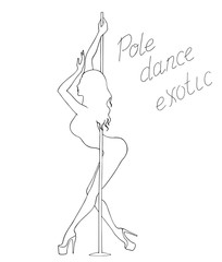 Black and white silhouette pole dance on a white background with lettering. Hand scketch exotic dance vector illustration. line clipart with text for logotype, badge, icon, logo, banner, tag, clothes
