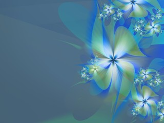 Floral original template with place for text...Fractal flower, template for inserting text...Beautiful background for creating business cards, ..and the like. In color blue...