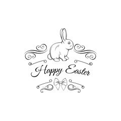 Easter card with bunny, bow and swirls. Greeting card decorations.  illustration.