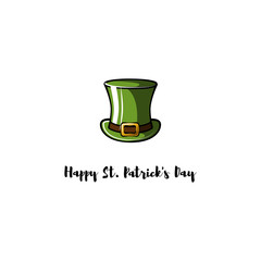 Cylinder hat leprechaun for St. Patrick. Irish holiday greeting card. .
