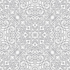Decorative plaster decoration in arabesque style. Vector seamless pattern. Perfect for backgrounds, textures and wallpaper designs.