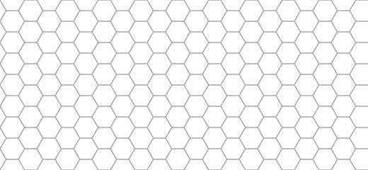 Poster Geometric hexagon pattern. Seamless background. Abstract honeycomb background in grey color. Vector illustration