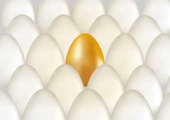Single golden egg shines among ordinary white eggs. The concept of uniqueness. Rows with many eggs background. Vector 3d illuctration.