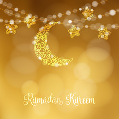 Hand drawn ornamental moon and stars. Festive decoration, string of glittering lights. Modern festive decorative blurred vector illustration background for muslim community holy month Ramadan Kareem.