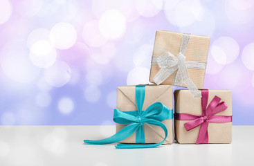 gift box on tablet