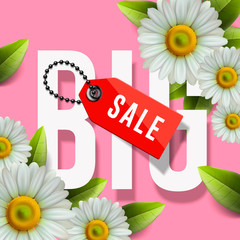Big Sale lettering design background with daisy flowers, vector Illustration.