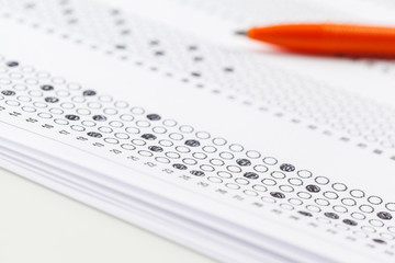 Test score sheet with answers