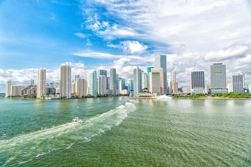 Miami dawntown, USA. view of Miami downtown skyline at sunny and cloudy day with amazing architecture. Luxury life travel concept