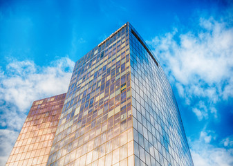 Office buildings with glass facade in la defense, paris, france