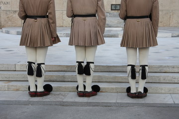 Close up image of Evzoni soldier, ceremonial guard in front of Greek parliament - Athens.