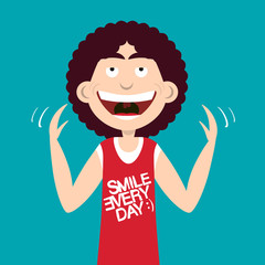 Happy Smiling Man with Smile Every Day Slogan on Shirt. Vector Flat Design Illustration.