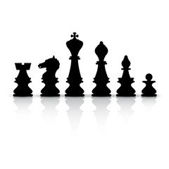 Vector Black Chess Pieces Isolated on White Background