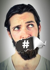 Hashtag icon and Man with torn paper on mouth