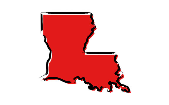 Stylized red sketch map of Louisiana