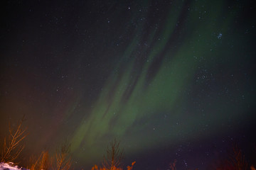 majestic view of night sky with northern lights in iceland