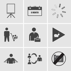 Set Of 9 simple editable icons such as no image available, foot with wings, honest, slow motion, internship, supplier, pending, 6 month, flipchart, can be used for mobile, web UI