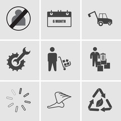 Set Of 9 simple editable icons such as waste management, foot with wings, pending, inventory management, supplier, optimise, backhoe, 6 month, no image available, can be used for mobile, web UI