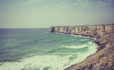 Rocky seashore in sunny Portugal