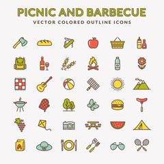 Picnic and barbecue colored outline icons.