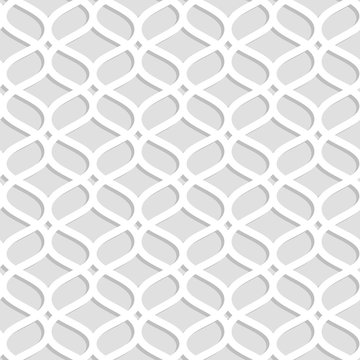 Gray and white laser cut paper geometric lacy seamless pattern, vector