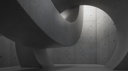 Abstract of architecture space with rhythm of circle concrete block and light and shadow of the sun,3D render