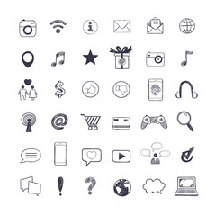 Social Media icons set. Vector hand drawn isolated objects. Doodle and sketch style .