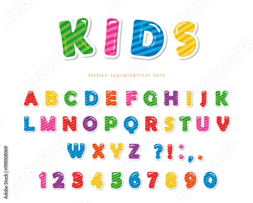 Kids font  Cartoon glossy colorful letters and numbers