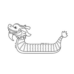 Dragon boat festival vector illustration, 5th day of May. Cartoon character of chines dragon on white background.  Black and white isolated object