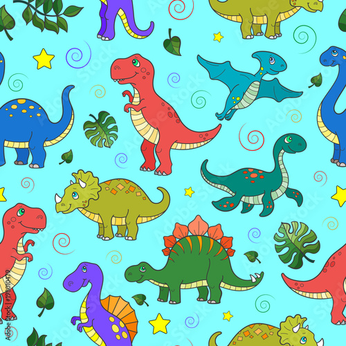 Seamless pattern with colorful dinosaurs and leaves, animals on blue background
