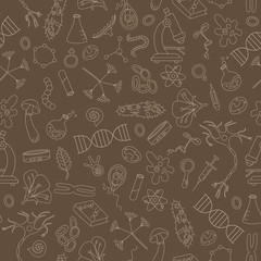 Seamless background with hand drawn icons on the theme of biology,beige outline on a brown background