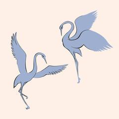Vector image. Dancing crane