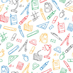Seamless pattern on the theme of the school, a simple hand-drawn contour icons ,colored markers on a white background