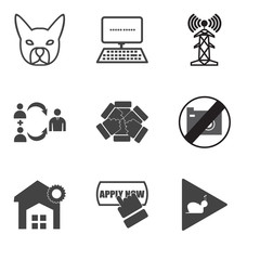 Set Of 9 simple editable icons such as slow motion, apply now, warehouse management, no image available, inclusivity, foot with wings, cell tower, data entry, french bulldog, can be used for mobile