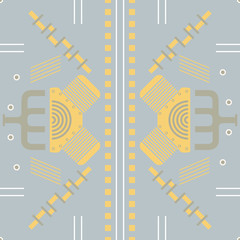 Seamless steampunk vector pattern with mechanic shapes