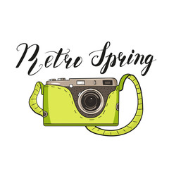 Photo camera in cartoon style. Green color and lettering