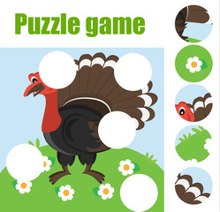 Puzzle for toddlers. Matching children educational game. Match pieces and complete the picture. Activity for pre school years kids. Animals theme
