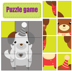 Puzzle for toddlers. Match pieces and complete the picture. Activity for pre school years kids. Animals theme. Cute puppy