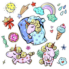 Cute baby unicorn vector illustration in pastel rainbow colors sleeping happy sweet