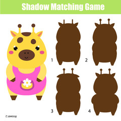 Shadow matching game. Kids activity with cute giraffe