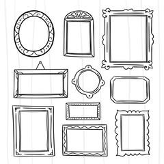 Cute hand drawn frames vector set. Graphic design outline frame elements