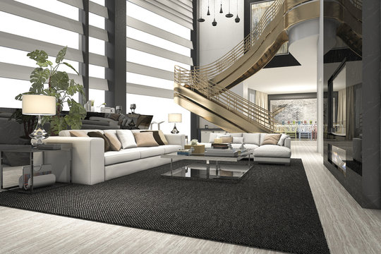 3d rendering luxury and modern living room with double floor golden stair