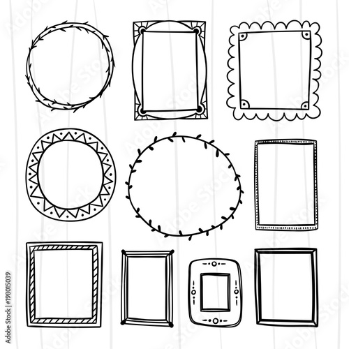 Hand drawn frame and wreath set. Picture and photo frames for ...