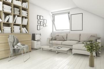 3d rendering mock up frame in living room library