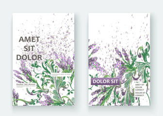 Lavender floral pattern cover design. Hand drawn creative flower. Elegant trendy background blossom greenery branche. Graphic illustration wedding, invitation, poster, greeting card, cover vector